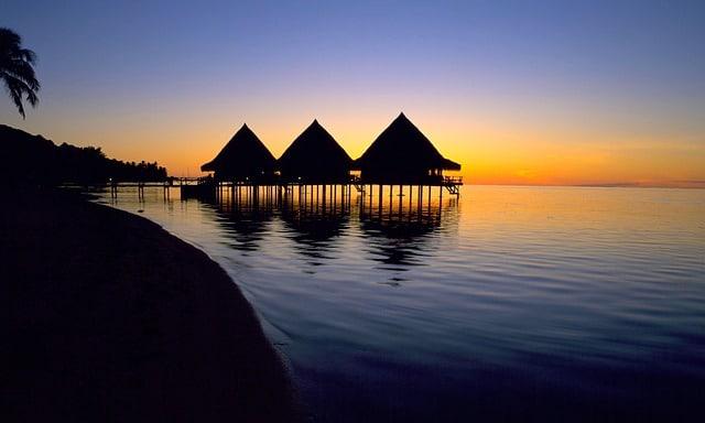 Le coucher de soleil à Tahiti